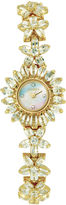 Elgin Womens Flower Mother-of-Pearl Crystal Bracelet Watch