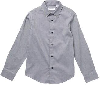 Calvin Klein Basketweave Dobby Dot Dress Shirt