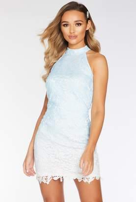 Quiz Blue and Cream Ombre Crochet Bodycon Dress