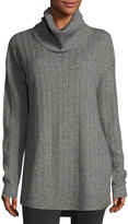 Three Dots Silk-Cashmere Funnel-Neck Cable-Knit Tunic, Light Gray