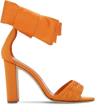 Manolo Blahnik 105mm Misam Os Tondo Satin Sandals