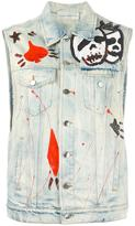 Faith Connexion hand-painted effect denim gilet - women - Cotton - XS