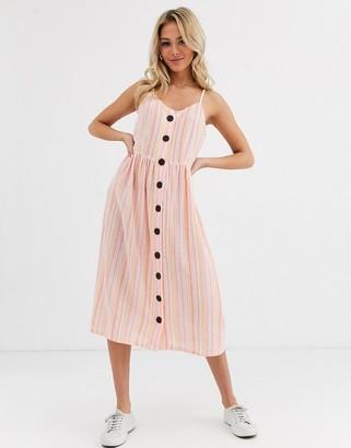 Glamorous button down midi dress in stripe