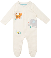 John Lewis Elephant And Friends Sleepsuit, White