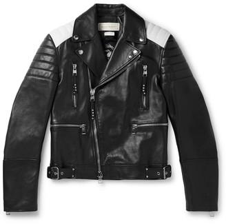 Alexander McQueen Color-Block Full-Grain Leather Biker Jacket