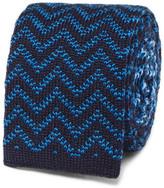 Etro Reversible Jacquard-knit Wool Tie - Blue