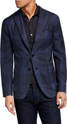 Boglioli Men's Plaid Two-Button Wool Jacket