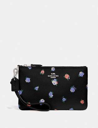 Coach Small Wristlet With Vintage Rosebud Print
