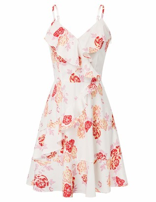 GRACE KARIN 50s Pin Up Dress for Women Party Summer V-Neck Spaghetti Floral A-line Fancy Ruffled Dress XL Black