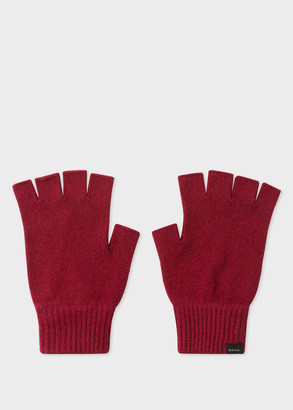 Men's Burgundy Cashmere And Merino Wool Fingerless Gloves