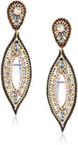 Miguel Ases Labradorite and Crystal Hydro-Quartz Leather Enclosed Marquise Pink Accented Post Drop Earrings