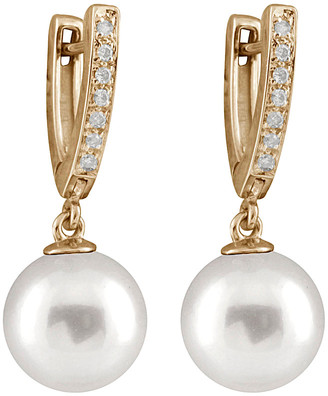 Masako Splendid Pearls 14K 0.10 Ct. Tw. Diamond & 10-11Mm South Sea Pearl Earrings