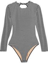 Fleur Du Mal Striped Open-back Swimsuit - Black