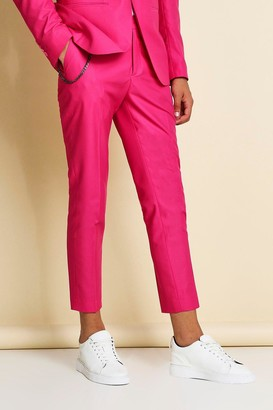 boohoo Mens Pink Skinny Plain Cropped Suit Trousers With Chain, Pink