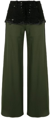 Unravel Project Mid-Rise Flared Patchwork Trousers