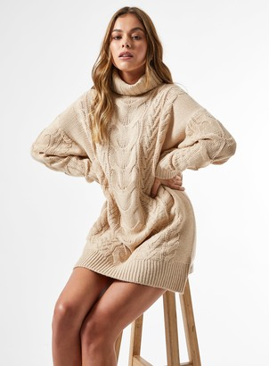 Miss Selfridge Camel Premium Cable Mini Knitted Dress