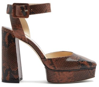 Jimmy Choo Jinn 125 Python-effect Leather Platform Sandals - Tan
