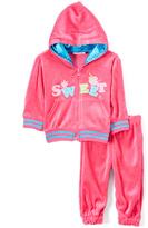 Sweet & Soft Hot Pink Velour 'Sweet' Zip-Up Hoodie & Sweatpants - Infant