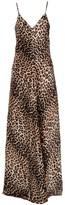 Ganni Leopard Print Silk Slip Dress - 40 - Natural/Black/Brown
