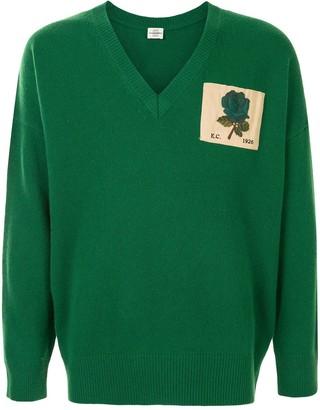 Kent & Curwen V-neck logo patch jumper