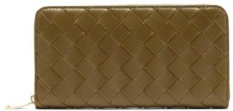 Bottega Veneta Intrecciato-leather Wallet - Khaki