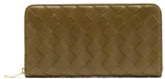 Bottega Veneta Intrecciato-leather Wallet - Womens - Khaki