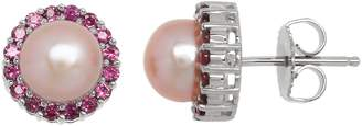 Honora Style Pink Pearl and Rhodolite Halo Earrings