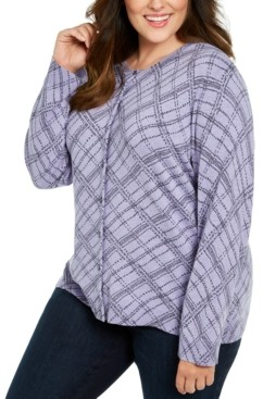 Karen Scott Plus Size Button-Front Print Cardigan, Created For Macy's