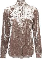 L'Agence tie neck velvet blouse