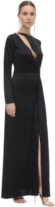 Silvia Astore Embellished Long Satin Dress