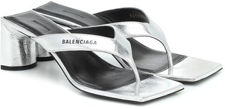 Balenciaga Logo leather T-bar sandal