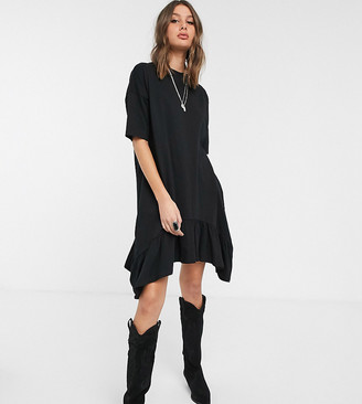 Asos Tall ASOS DESIGN Tall oversized smock dress with tiered dip hem in black