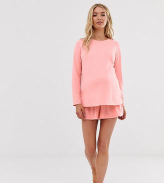 Asos DESIGN Maternity mix & match pyjama jersey short-Red
