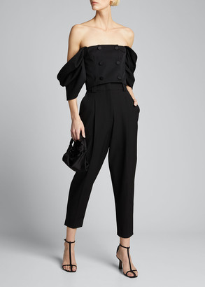 Carolina Herrera Off-the-Shoulder Corset Top with Buttons