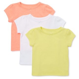 Garanimals Baby Girl Solid Crewneck T-Shirts, 3pk