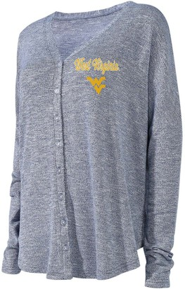 Unbranded Women's Concepts Sport Navy West Virginia Mountaineers Knit Button-Up Sweater