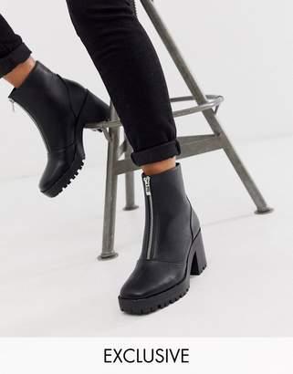 Raid RAID Exclusive Janella black chunky square toe zip front boots