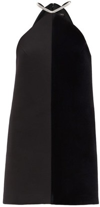 David Koma Crystal-embellished Velvet And Crepe Mini Dress - Black Silver