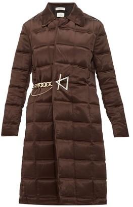 Bottega Veneta Chain-embellished Quilted-satin Coat - Dark Brown