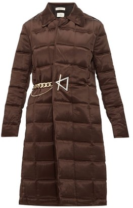 Bottega Veneta Chain-embellished Quilted-satin Coat - Womens - Dark Brown