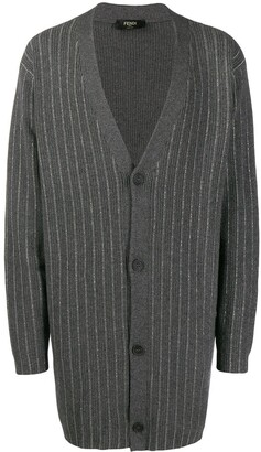 Fendi Metallic-Stripe Long-Line Cardigan