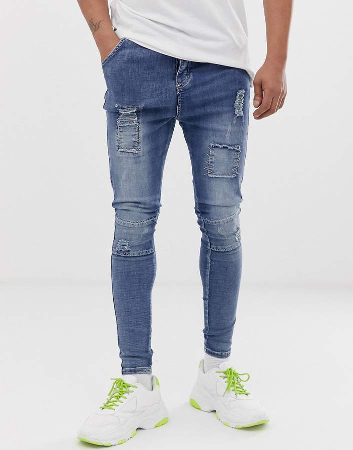 4172f5a0a8670 skinny jeans in washed blue with distressing