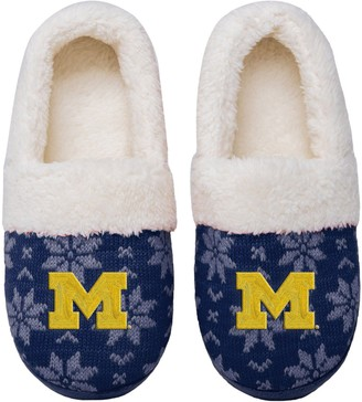 Women's Michigan Wolverines Ugly Knit Moccasin Slippers