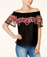 INC International Concepts Petite Embroidered Off-The-Shoulder Top, Created for Macy's