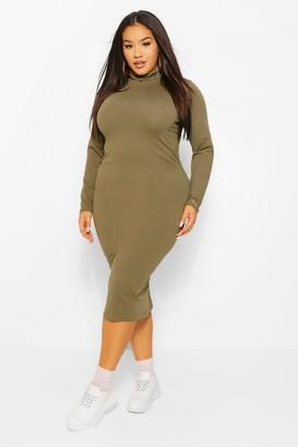 boohoo Plus Long Sleeve Roll Neck Midi Dress