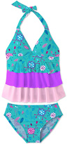Turquoise Flower & Leaf Ruffle Halter Tankini - Toddler & Girls