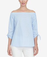 CeCe Cotton Off-The-Shoulder Pinstriped Top