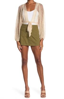 FAVLUX High Waist Button Front Mini Skirt