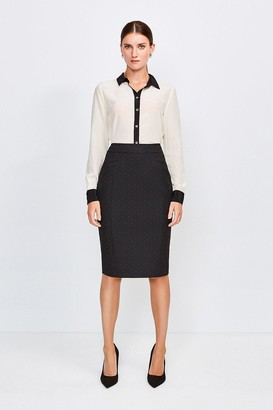 Karen Millen Pinspot High Waist Pencil Skirt