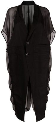 Rick Owens Long Silk-Panel Blazer-Style Top